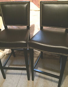 Two genuine leather bar stools