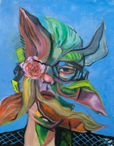 Facial flower man in fashion style in oil painting