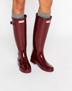 NEW Refined Wellington Hunter Rain Boots, Womens 8, Burgundy Red
