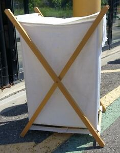 Attractive, Clean Clothes Hamper Off-White with Wood Frame