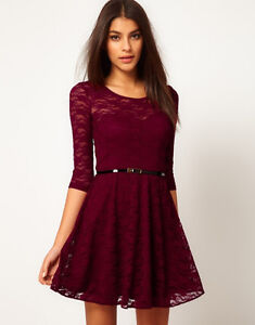 NEW SEXY WOMEN'S 3/4 SLEEVE ROUND NECK LACE SLIM COCKTAIL PARTY MINI BELT DRESS