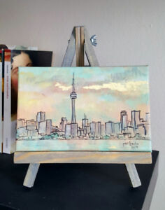 Art paintings on easel, small sizes
