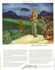 Large 1953 forest ranger ad for John Hancock Insurance