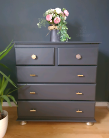 Navy & Gold hand painted pine chest of drawers