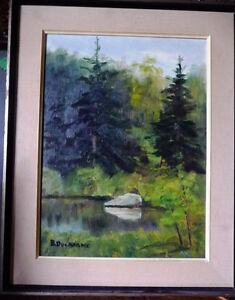 """Original Oil Painting by Blanche Ducharme """"Peaceful Pond"""" 1960's Stratford Kitchener Area image 1"""