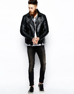 Brand New Without Tags ASOS Black Leather Moto Jacket Size Extra