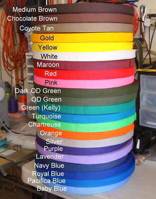 - 1 Inch, Nylon Webbing Poly,  Sold By The Yard, Your Color Choice, USA, New