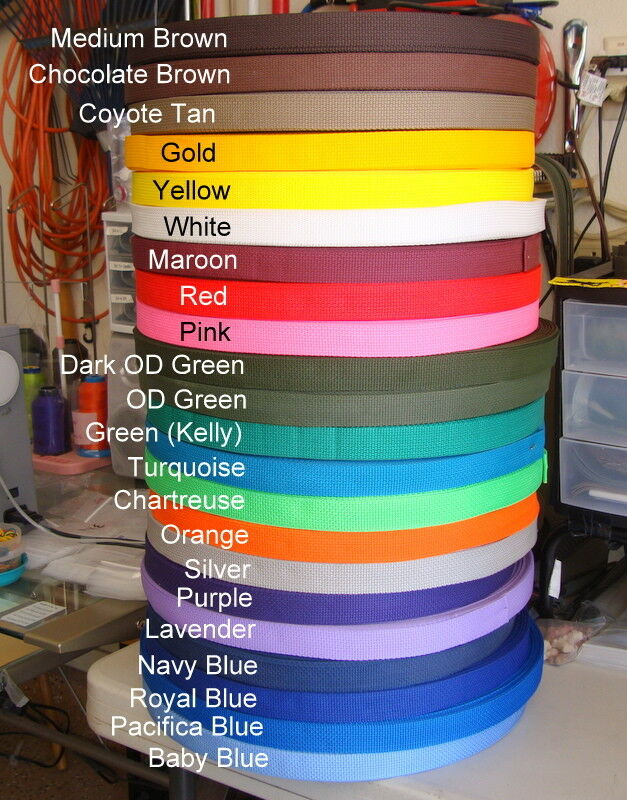 1 Inch, Nylon Webbing Poly,  Sold By The Yard, Your Color Ch