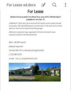 3 bedroom rancher with double garage for lease