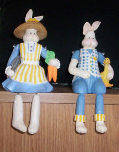 Bunny Shelf Sitters, New in Box Easter, Home Decor, Cottage
