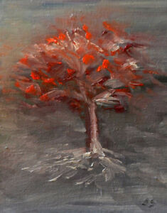 """""""Red Leaves"""", abstract oil on cardboard"""