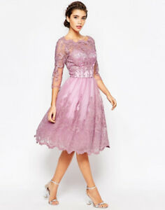 Chi Chi London Premium Lace Midi Prom Dress with Bardot Neck