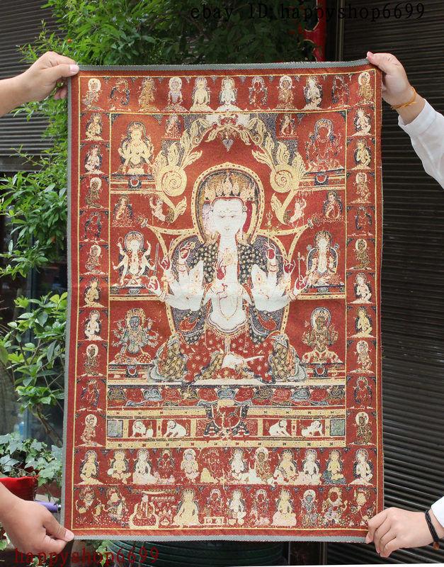 "36"" Tibet Buddhism Silk Cloth Namgyalma Ushnishavijaya Thangka Embroidery Mural"