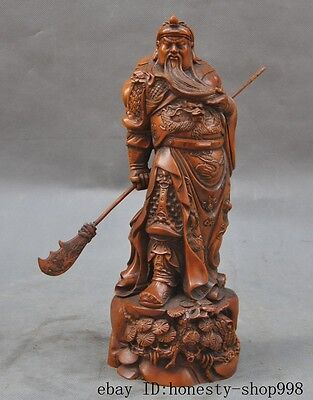 Portable Boxwood Carved Chinese Guan Yu Guan Gong Warrior God Statue Decor