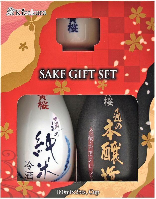 (33,31€/1l) KIZAKURA Sake Geschenkset [1x Junmai, 1x Honjozo je180ml, 1 Becher]