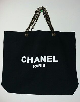 New Chanel Paris VIP gift canvas black tote bag