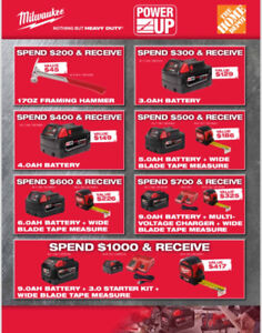 MILWAUKEE POWER UP TOOL EVENT - TON OF GIVEAWAYS & SAVINGS