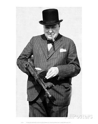 Winston Churchill With Tommy Gun Art Print   11X14