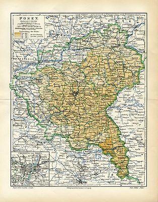 Posen und Umgebung Deutschland 2 original Karte von 1892 M6 + Text