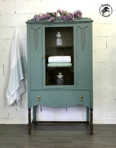 Vintage Painted China cabinet Cupboard