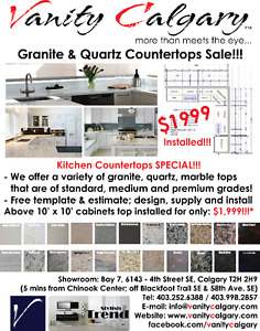 Kitchen Countertops SALE – 10' x 10' Kitchen Top Packages Please