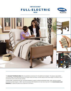 Invacare Full Electric Bed, Solace Mattress and Half-Rails