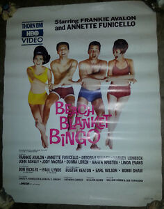 1965 Original 1st issue Movie Poster Beach Blanket Bingo