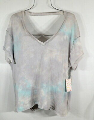 Free People Blue Gray Tie Dye Pullover Top Tee XS NWT