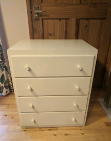 Small vintage chest of wooden drawers painted