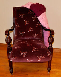 Refinished Antique Easy/Parlour Chair with Afghan
