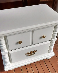Bed side / night table refinished in antique white