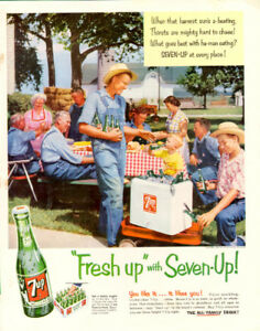 Large (10 ¼ x 14) 1954 original, color print ad for 7-Up