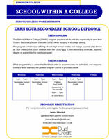 School Within a College - Earn Your High School Diploma