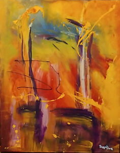 """""""Tropical Splash"""", 24x30, abstract painting, acrylic on canvas"""