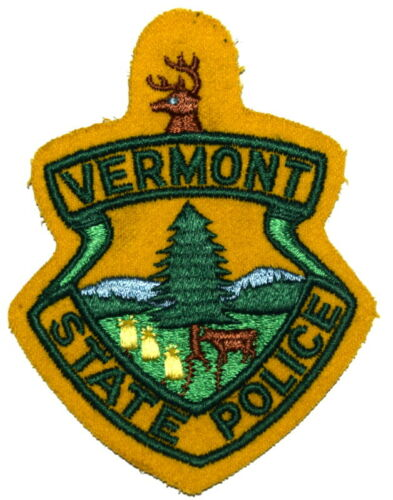 VERMONT STATE POLICE VT Sheriff Police Patch VINTAGE OLD MESH CUT EDGE FELT ~