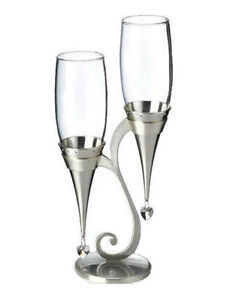 Silver Glass Flutes and Holder Set
