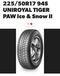 225/50R17/94S UNIROYAL TIGER PAW ICE AND SNOW TIRES WITH RIMS