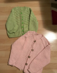 Hand knit girls sweaters