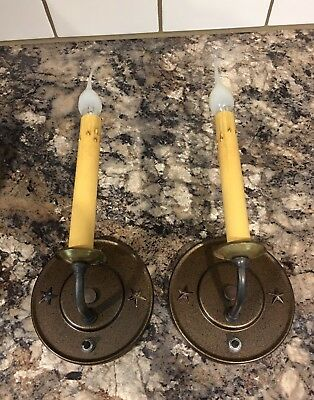 Beautiful Sconces Vintage Antique Wired Pair Electric Candles On Off Switch 8C