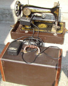 ANTIQUE*WORKING* ELECTRIC 1924 VINTAGE SINGER SEWING-GOLD SPHINX