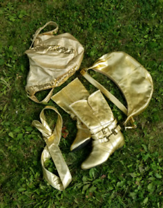 Gold purses boots and belt