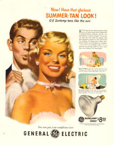 1951 full-page magazine ad for General Electric Sunlamps