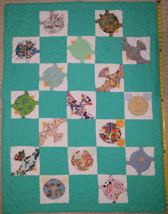 Qty 2 x Green Baby Quilts with Pink & Blue Fleece Cat Prints