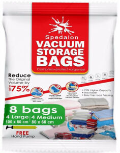 Brand New Vacuum Storage Bags - Pack of 8 - 4 Large + 4 Medium