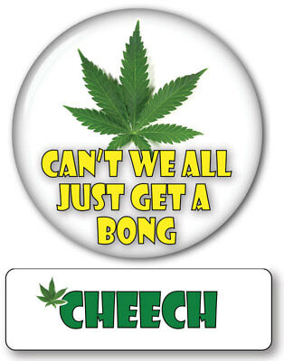 CHEECH OF CHEECH & CHONG MAGNET NAME BADGE & WEED BONG BUTTON HALLOWEEN COSTUME - Chong Halloween Costume