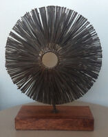 Industrial Spoke Sculpture with Wood Base