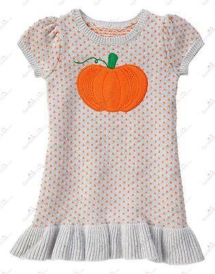 GIRL GYMBOREE HAPPY HARVEST SHOP PUMPKIN SWEATER DRESS HALLOWEEN ORANGE 3T 4T 5T - Girl Dress Shops