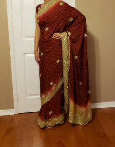 BRAND NEW Nude/Maroon 100% Silk Saree + Skirt + Blouse. $175 OBO
