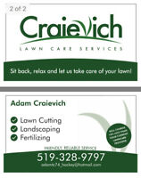 Craievich Lawn Care-Grass Cutting,Landscaping,Weeding,Cleanup