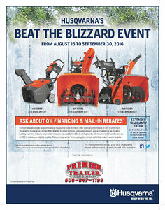 EXTENDED 0 Payment, 0 Interest on Husqvarna Snow Blowers!